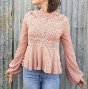 Free People | light pink mesh sleeve peplum top